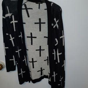 cross cardigan sweater large